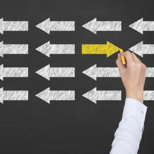 Leadership Concept on Blackboard Background