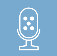 icon of microphone on blue background